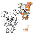cute cartoon soft toy puppy with bone outlined vector image vector image
