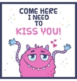 Cute monster card vector image vector image