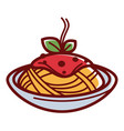 delicious hot pasta with red sauce and herbs vector image vector image