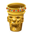 ethnic golden vase with human face isolated on a vector image