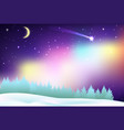 fantastic northern lights over the pine forest and vector image vector image