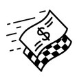 fast moving dollar banknote and checkered start vector image vector image