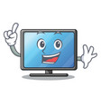 finger lcd tv isolated with the character vector image