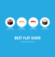 flat icon salmon set of japanese food seafood vector image vector image