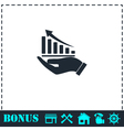 Growing graph holding by hand icon flat vector image