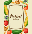 harvest festival background with fruits and vector image