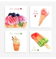 Ice cream watercolor icons composition banner vector image vector image