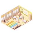 isometric kindergarten preschool classroom vector image vector image