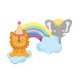 lion and elephant with party hat and rrr rainbow vector image