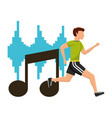 man running sport exercise with note musical vector image