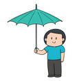 man using umbrella vector image vector image
