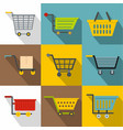 market cart icons set flat style vector image vector image