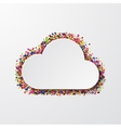 modern cloud with confetti on white vector image vector image