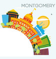 montgomery usa skyline with color buildings blue vector image vector image