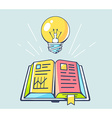 opened book and yellow lightbulb on color vector image