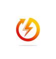 round arrow light bolt danger logo vector image vector image