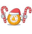 santa with candy bitconnect coin character cartoon vector image vector image
