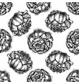 seamless pattern with black and white peony vector image vector image