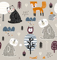 semless woodland pattern with cute bear hedgehog vector image vector image