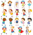 set different kids in doodle style vector image