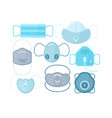 set different medical masks vector image vector image