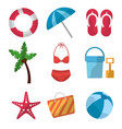 set icons best summer season vacation vector image vector image