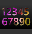 set of numbers neon glow sparkling vector image vector image