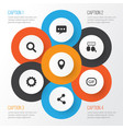 social icons set collection of gear message vector image