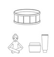 spa salon and equipment outline icons in set vector image vector image