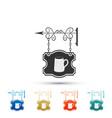 street signboard hanging with wooden mug of beer vector image vector image