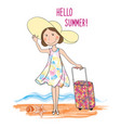 summer travel card background lettering hello vector image vector image