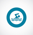 swim icon bold blue circle border vector image