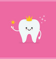 tooth fairy wearing crown and holding a star vector image