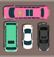 top view colorful car toys pickup automobile vector image vector image