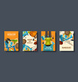 travel and tourism flat style covers set world vector image
