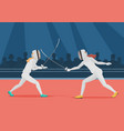 two people doing fencing fencing championship vector image