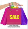woman hand holding colorful shopping bag show vector image