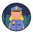 woman officer police with cityscape vector image vector image