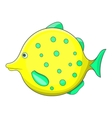 Yellow dotted fish icon cartoon style vector image vector image