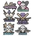 set of colorful skateboard emblems vector image