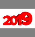 2019 red sign sign 3d numbers 2019 vector image vector image
