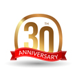 30 years anniversary experience gold label with vector image vector image