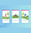 active people sports onboarding screens template vector image