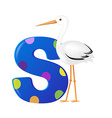 Alphabet With Stork vector image