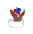 american eagle clutching towing j hook flag vector image vector image