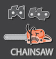 badge sticker hand saws and chain link for vector image vector image