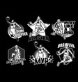 basketball badge collection in black and white vector image
