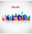 beijing skyline silhouette in colorful geometric vector image vector image