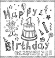 Birthday party elements colored hand drawn sketch vector image