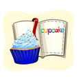 Blue cupcake and a book vector image vector image